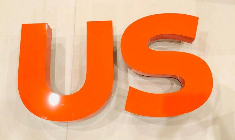 Post-Modern Large Custom Made US Metal Letters in Enameled Orange For Sale