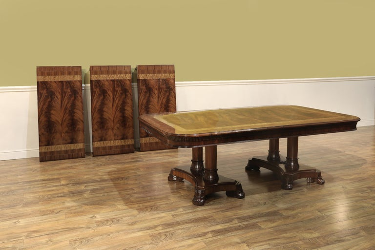 Large Custom Mahogany Regency Style Dining Table by Leighton Hall In New Condition For Sale In Suwanee, GA