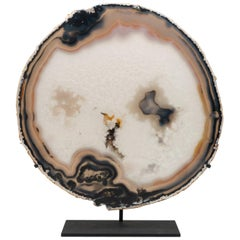 Large Custom Mounted Agate Stone Mineral Geode Slice Specimen