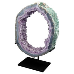 Large Custom Mounted Amethyst Mineral Geode Slice Specimen