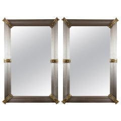 Large Custom Murano Blown Mirrors in Greige/Gold, Contemporary