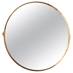 Large Custom Round Brass Mirror by Adesso Imports