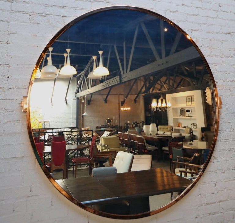 American Large Custom Round Copper Mirror For Sale