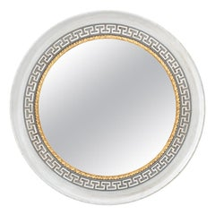 Large Custom Round Painted Greek Key Trim Mirror