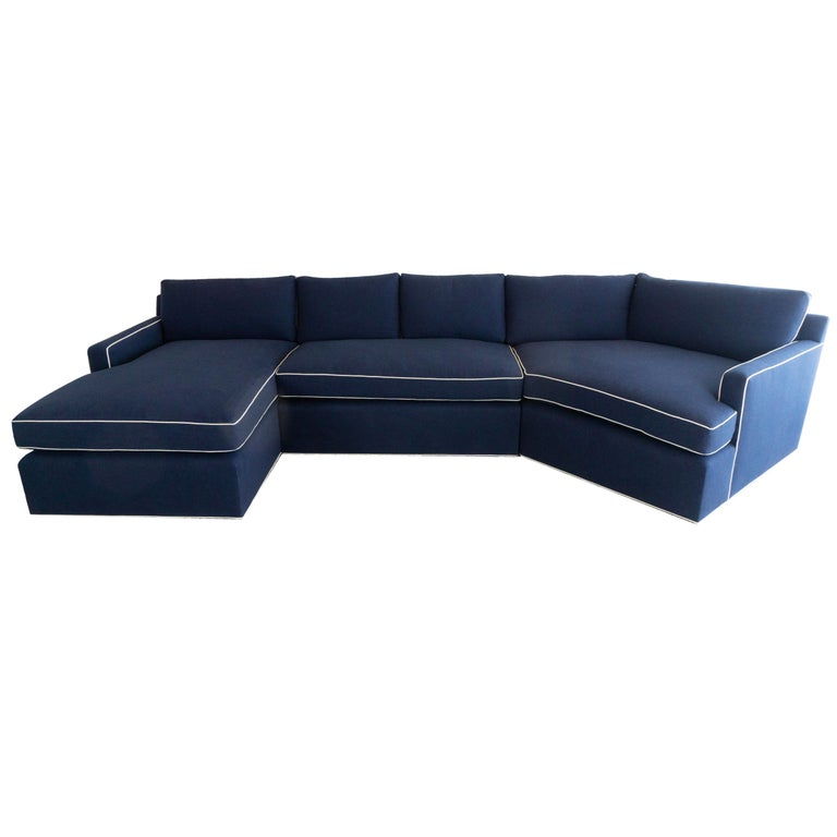 Large Custom Sectional Sofa with Chaise Lounge For Sale at 1stdibs