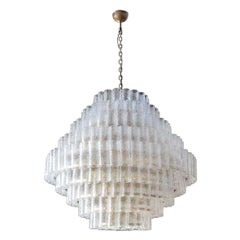Large Custom Tiered Murano Chandelier with Clear Glass Tubes by Adesso Imports