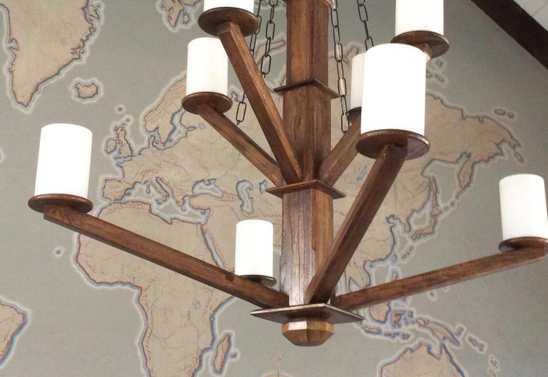American Large Custom Wood Chandelier with Glass Cylinder Shades For Sale