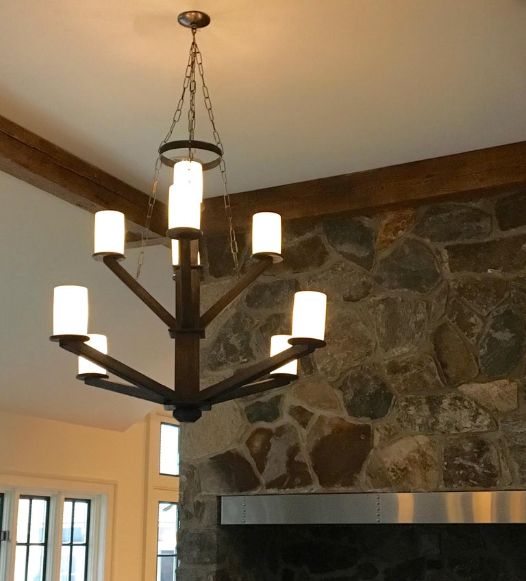 20th Century Large Custom Wood Chandelier with Glass Cylinder Shades For Sale