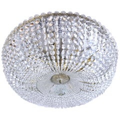 Large Cut Crystal Brass Chandelier in the Style of Lobmeyr, Vienna Pendant