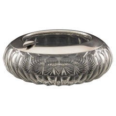 Large Cut Crystal Cigar Ashtray with Sterling Silver Collar, circa 1930