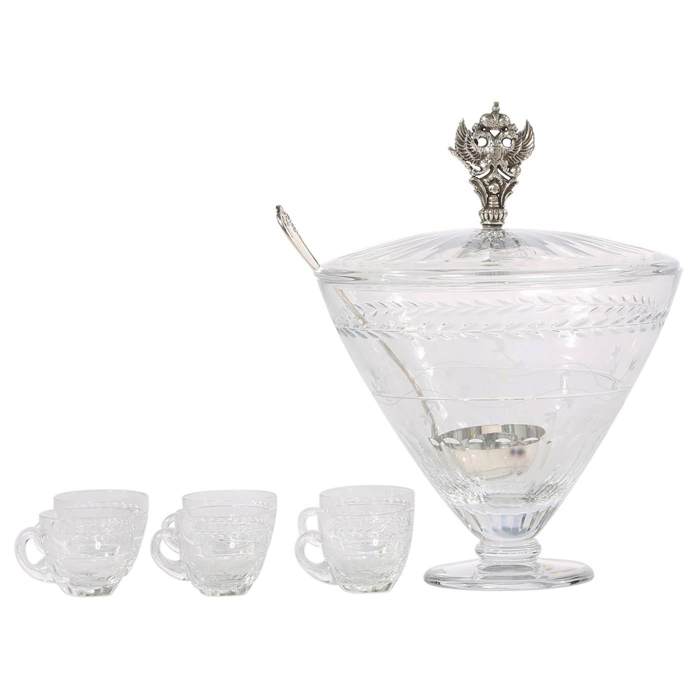 Large Cut Crystal Covered Punch Bowl Service / 8 People
