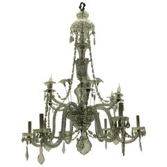 Large Cut Glass Baccarat Chandelier