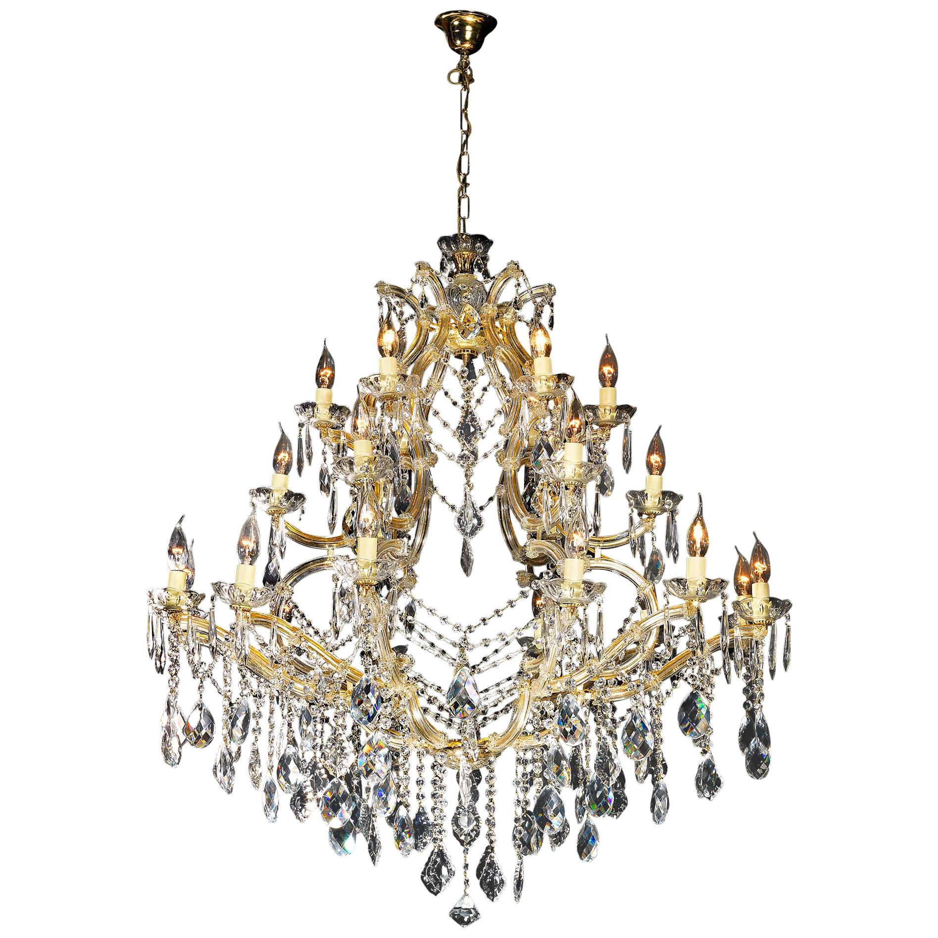 Large Cut Glass Twenty Four-Light Chandelier in the Louis XVI Manner