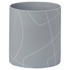 Large Medium Grey Cylinder Ceramic Vase with Graphic Line Pattern