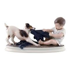 Large Dahl Jensen Porcelain Figurine, Boy and Dog, Model Number 1072, 1930s