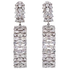 Large Dangling Hoop 30 Carat Diamond Earrings