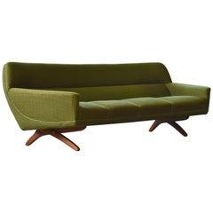 Large Danish 1960s Curved Sofa Teak Scissor Legs by Illum Wikkelso