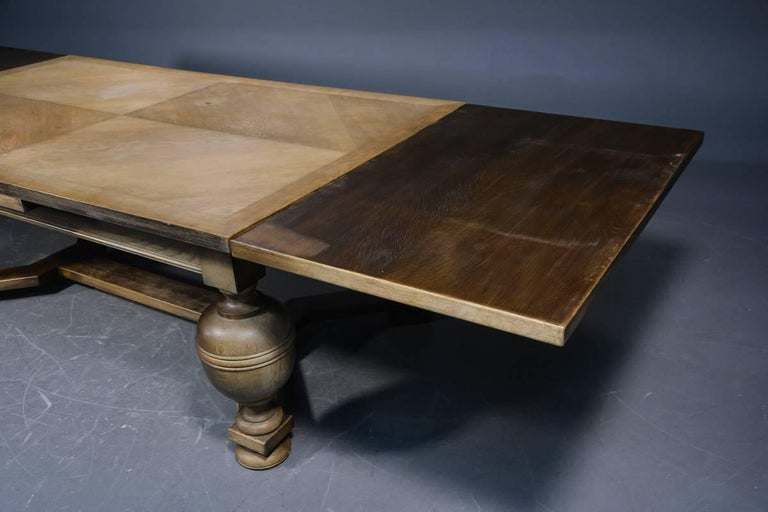 Baroque Large Danish Antique Farm Style Draw Leaf Oak Dining Table Seats 14 For