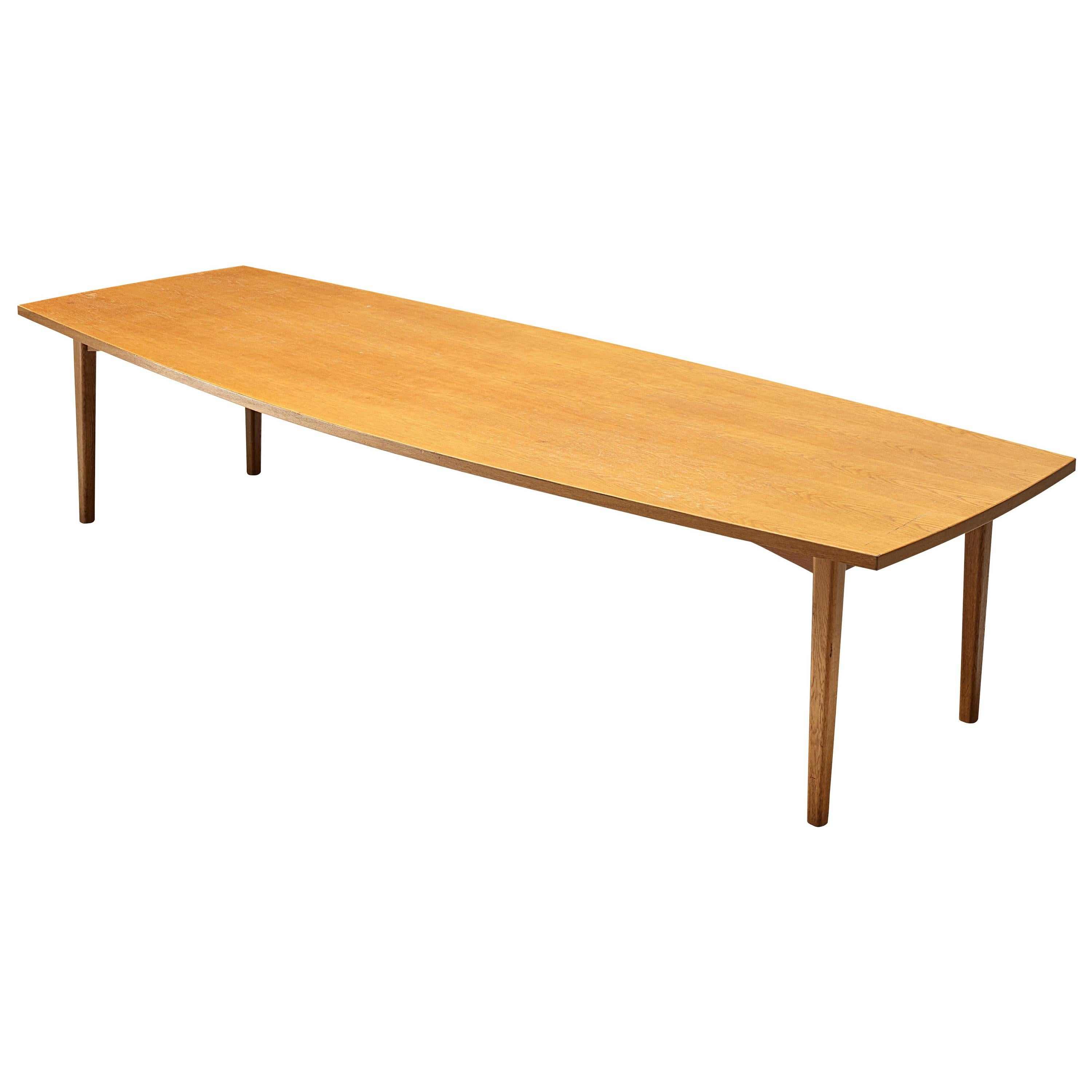 Large Danish Boat Shaped Conference Table in Oak