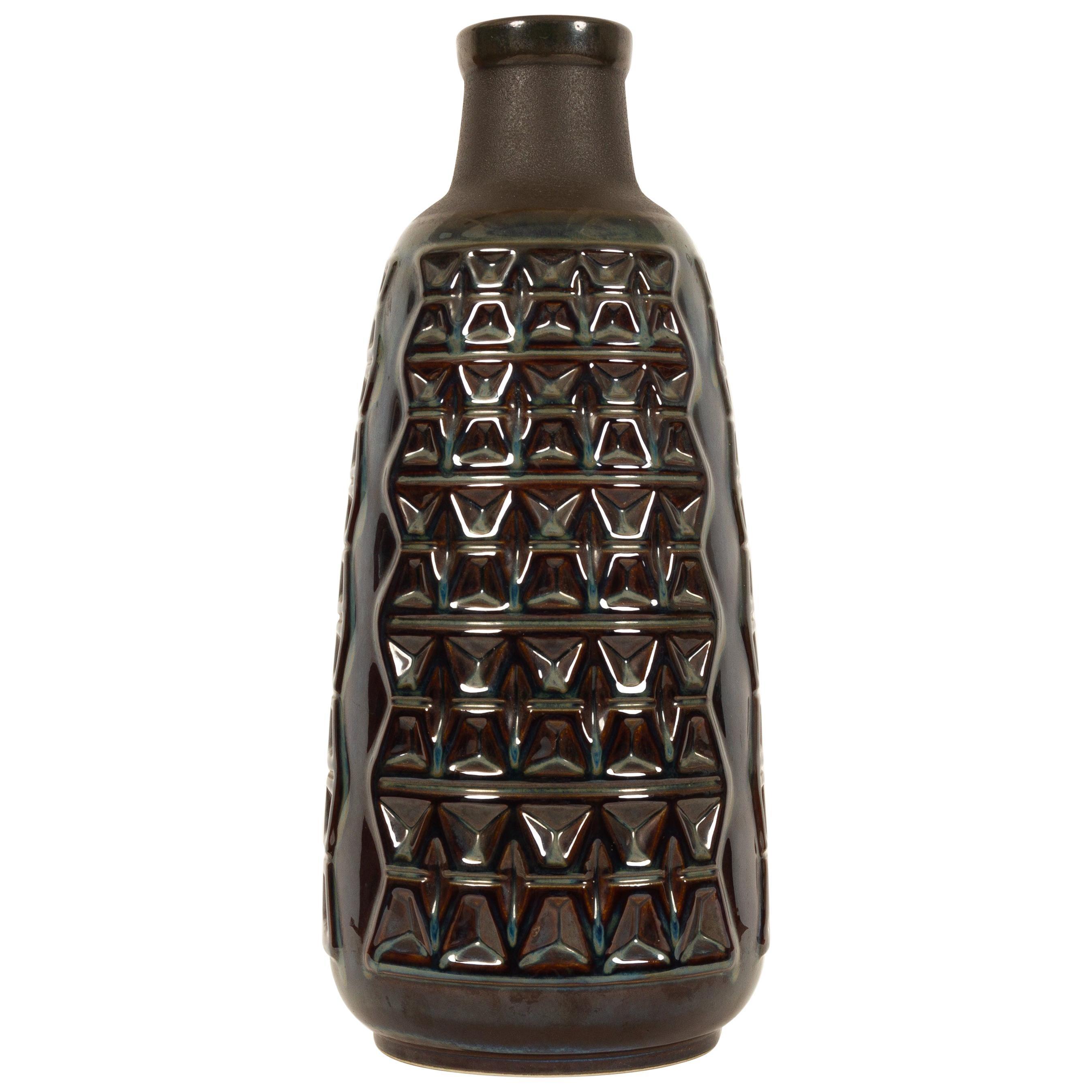 Large Danish Ceramic Vase in Blue Glaze by Einar Johansen for Søholm 1960s