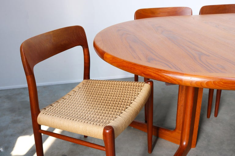 Large Danish Dining Room Set by Niels Otto Møller Teak & Papercord Model 75 1950 For Sale 6