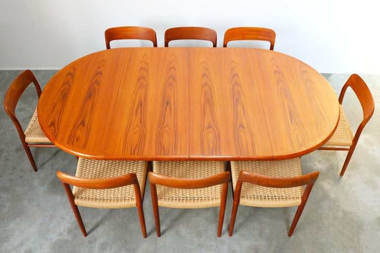 Large Danish Dining Room Set by Niels Otto Møller Teak & Papercord Model 75 1950 For Sale 14