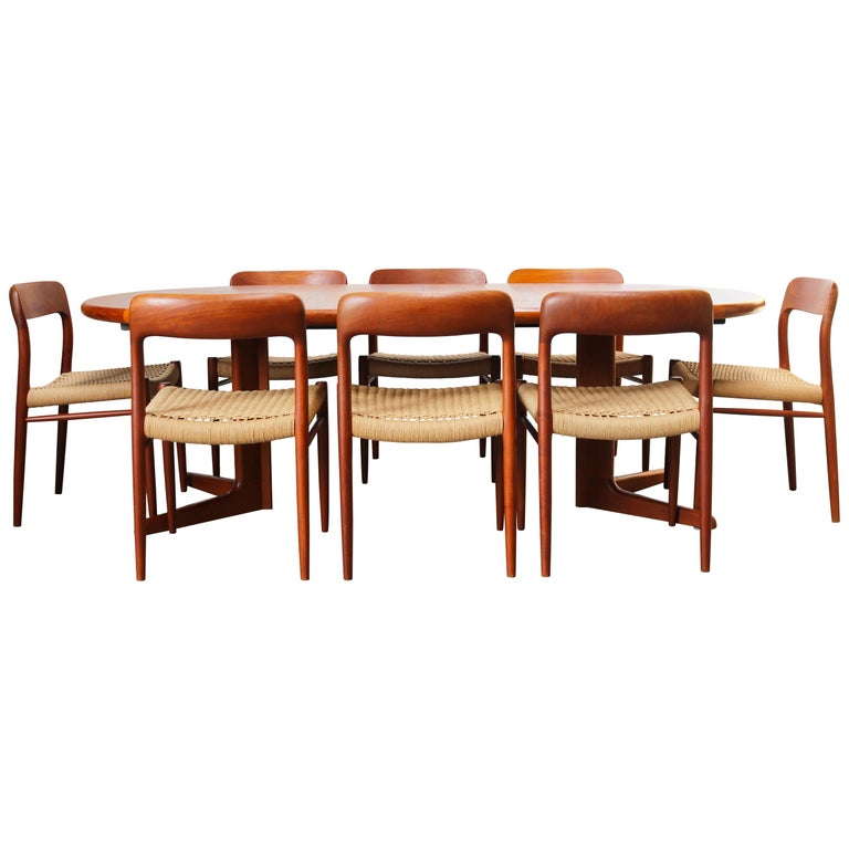 Large Danish Dining Room Set by Niels Otto Møller Teak & Papercord Model 75 1950 For Sale