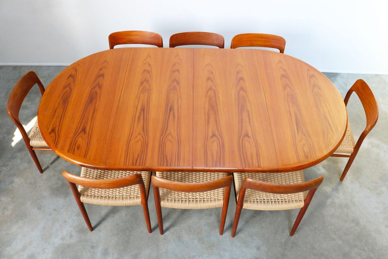Mid-20th Century Large Danish Dining Room Set by Niels Otto Møller Teak & Papercord Model 75 1950 For Sale