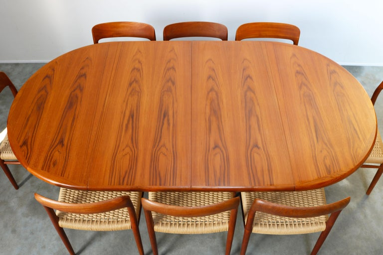 Mid-Century Modern Large Danish Dining Room Set by Niels Otto Møller Teak & Papercord Model 75 1950 For Sale