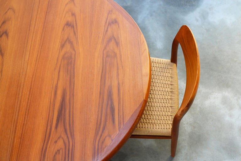 Large Danish Dining Room Set by Niels Otto Møller Teak & Papercord Model 75 1950 For Sale 1