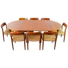 Large Danish Dining Room Set by Niels Otto Møller Teak & Papercord Model 75 1950