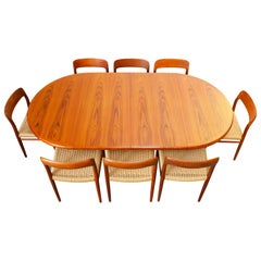 Large Danish Dining Room Set by Niels Otto Møller Teak & Papercord Model 75 1950