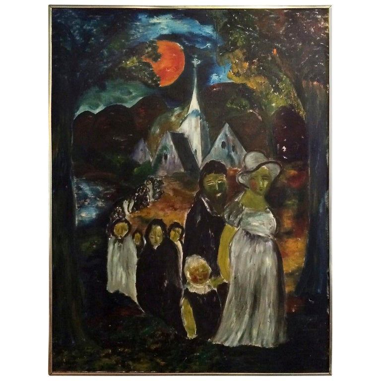 Large Danish Folk Art Church Procession Painting, circa 1960s For Sale
