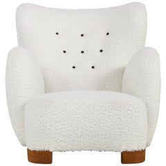 Large Danish Lounge Chair Wingchair Attributed to Flemming Lassen