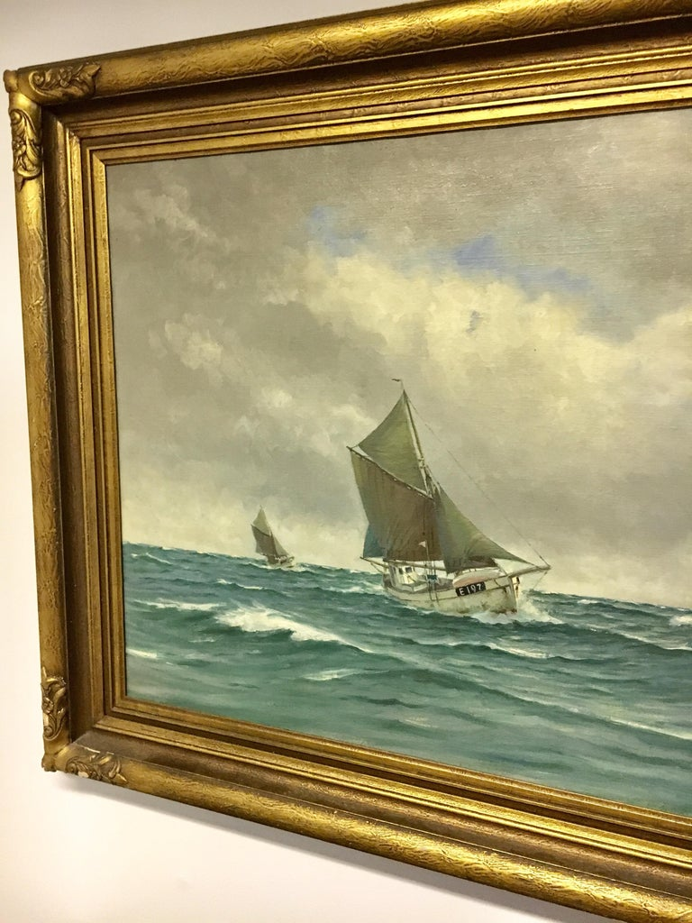 Wonderful large oil painting of sail ships by well-known Danish Marine painter Lauritz Sorensen (b.1882-d.1968) Sorensen was known for his dedication to the sea and his study of maritime objects, particularly sailing ships such as these. The spray