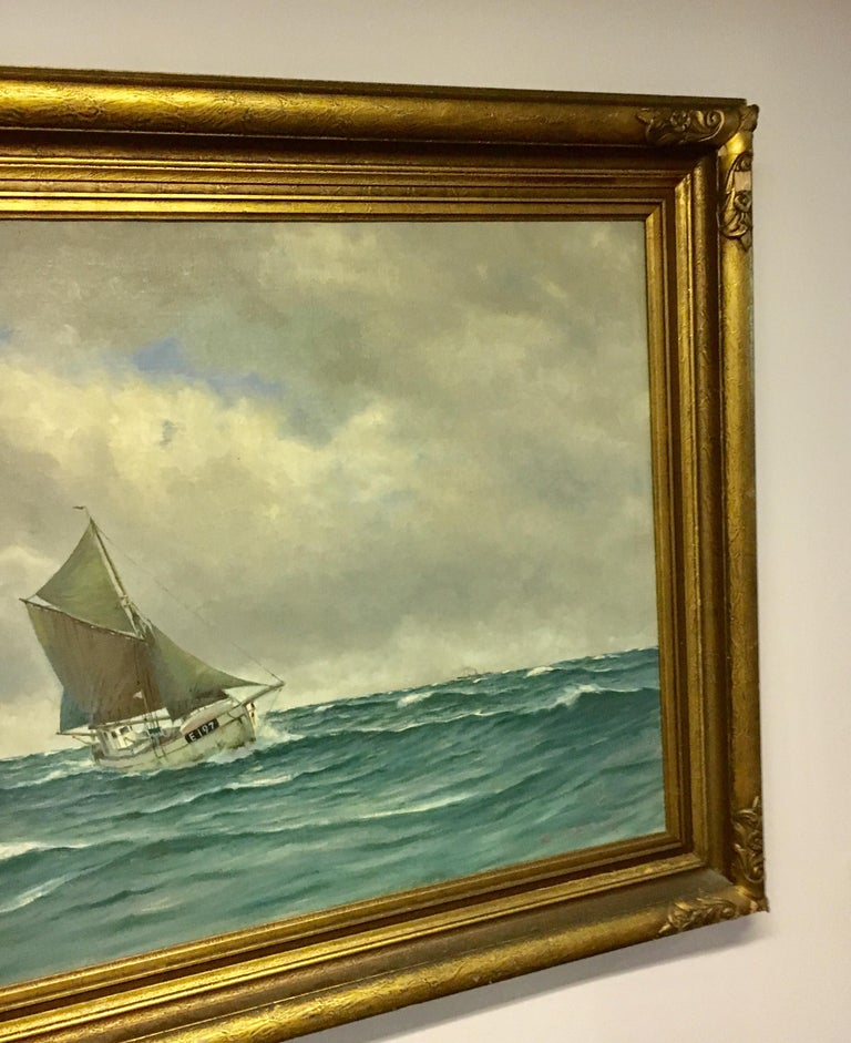 Large Danish Marine Painting by Lauritz Sorensen In Good Condition For Sale In Cold Spring, NY