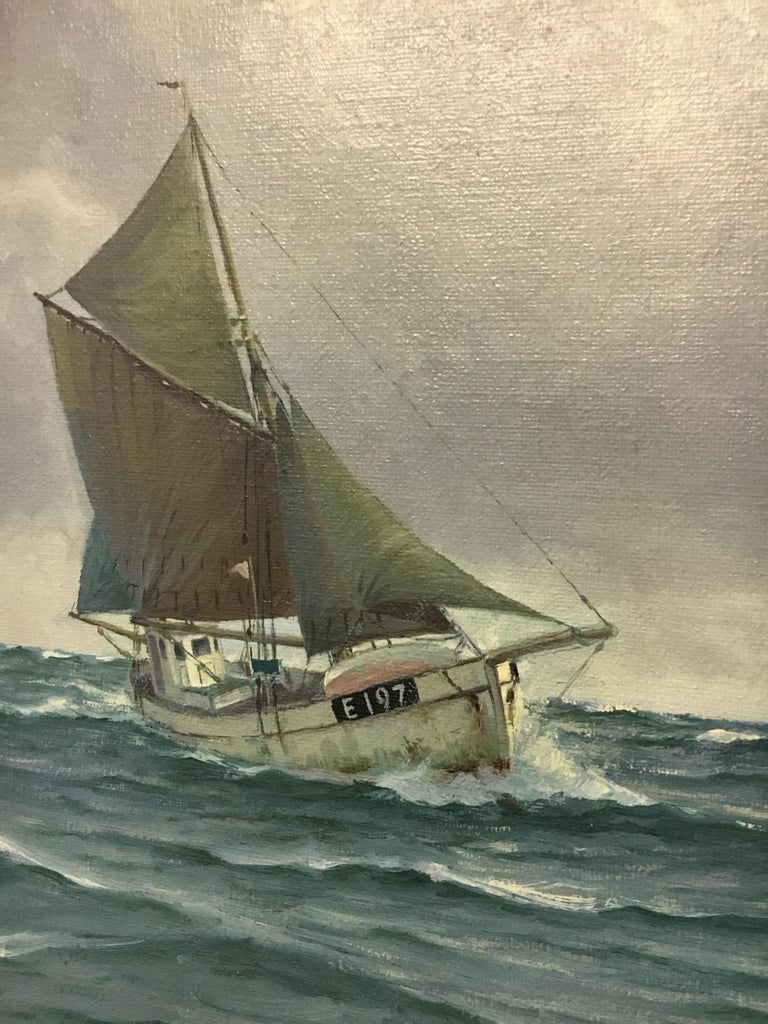 20th Century Large Danish Marine Painting by Lauritz Sorensen For Sale