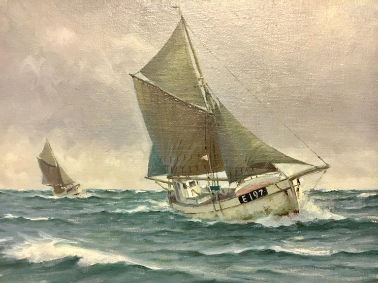 Large Danish Marine Painting by Lauritz Sorensen For Sale 1