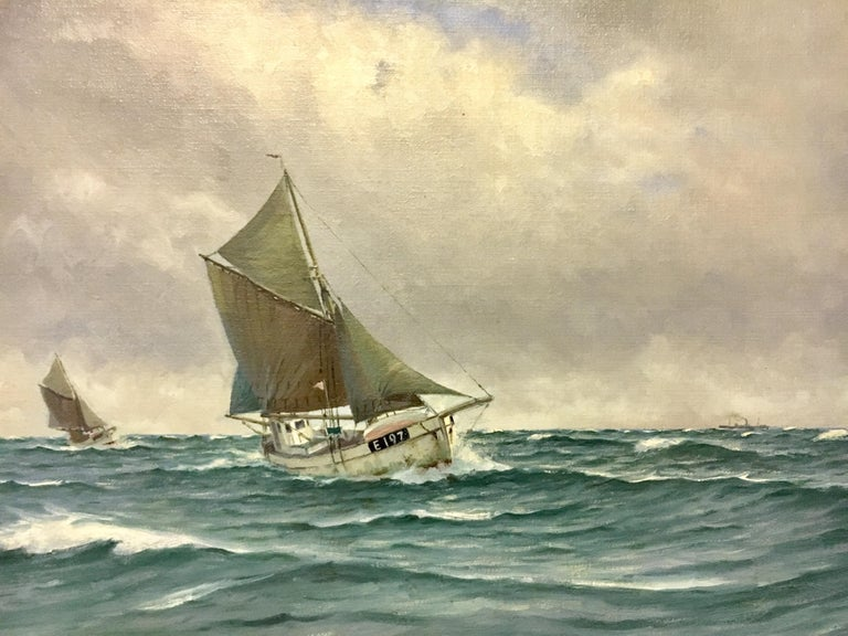 Large Danish Marine Painting by Lauritz Sorensen For Sale 2