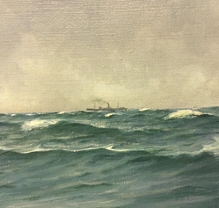 Large Danish Marine Painting by Lauritz Sorensen For Sale 3