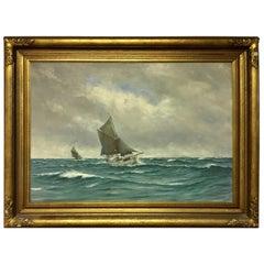 Large Danish Marine Painting by Lauritz Sorensen