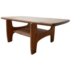 Large Danish Midcentury Free Form Pine Coffee Table
