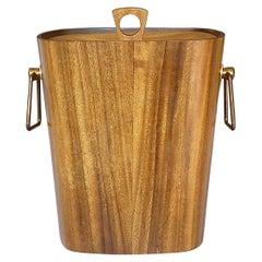 Large Danish Midcentury Ice Bucket Wine Cooler Teak Walnut Patinated Brass 1950s
