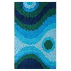 Large Danish Modern Hand-Knotted Blue/Green Wool Rug by Rya