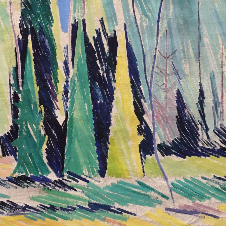 Large Danish modern painting Forest Scenery, oil on canvas, by William Scharff, 1886-1959. William Scharff was one of the leading figures in Danish modernism Measures without frame.