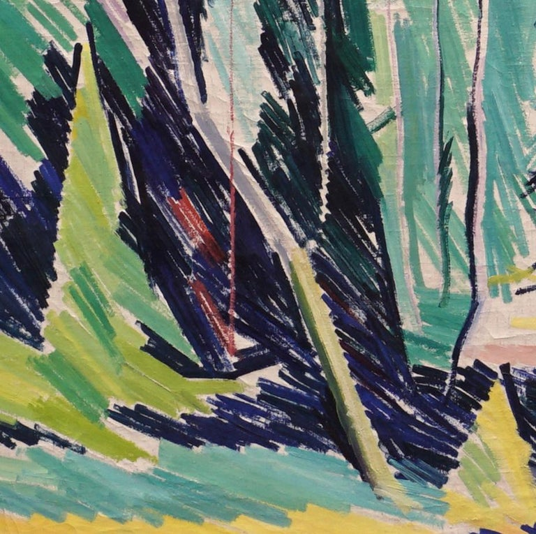 Painted Large Danish Modern Painting Forest Scenery, Oil on Canvas, by William Scharff For Sale