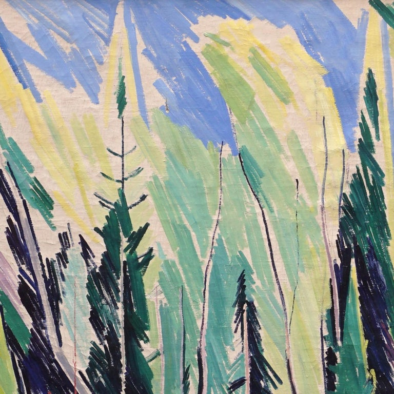 Large Danish Modern Painting Forest Scenery, Oil on Canvas, by William Scharff In Good Condition For Sale In Aabenraa, DK