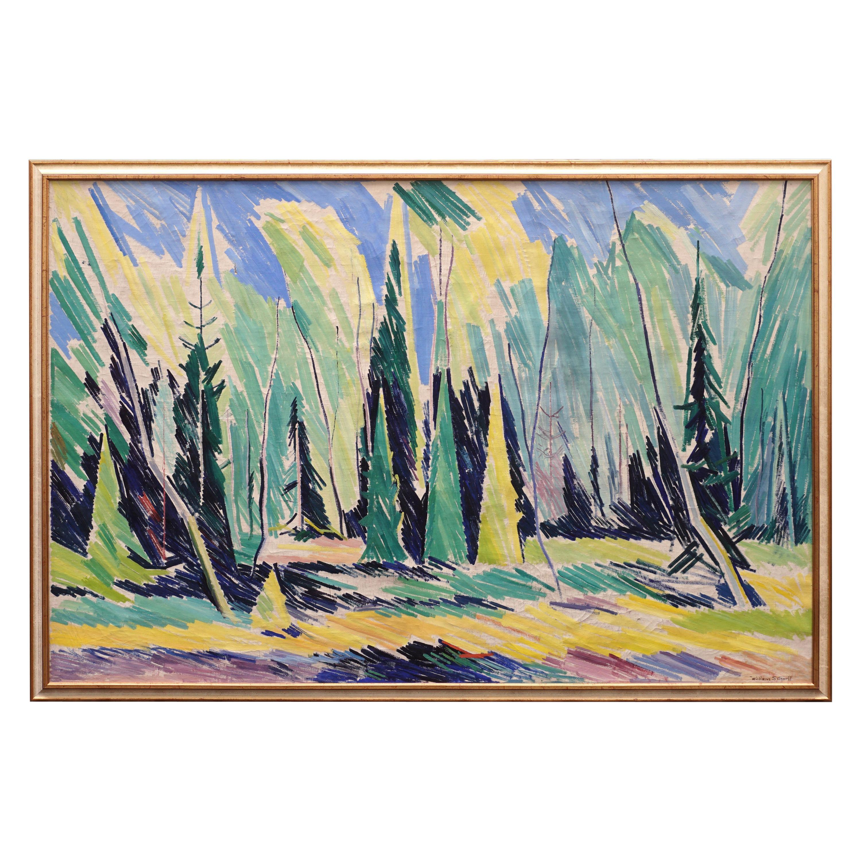 Large Danish Modern Painting Forest Scenery, Oil on Canvas, by William Scharff