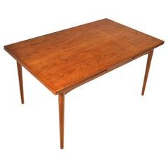 Large Danish Modern Rectangular Draw Leaf Dining Table in Teak