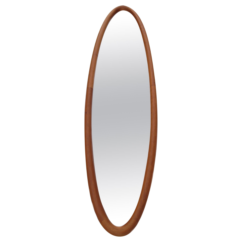 Large Danish Modern Teak Frame Narrow Oval Full Length Wall Mirror